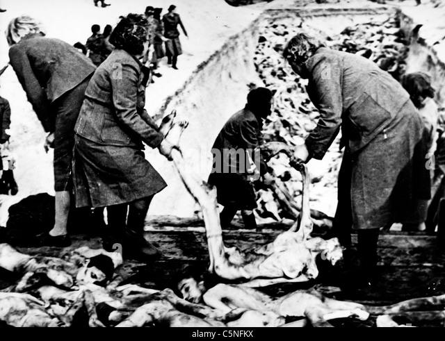 Bergen-Belsen Polin Camp, 1945 Stockbild