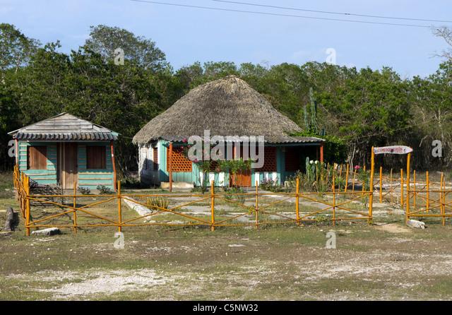 Kubanische Hütten, Playa Giron, Kuba Stockbild
