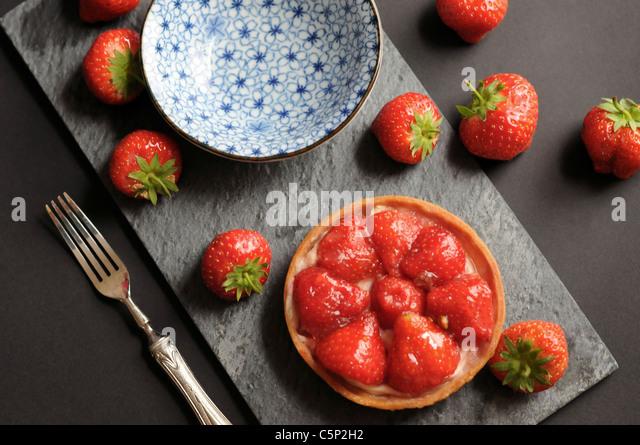 Kleine Erdbeer-Tarte Stockbild