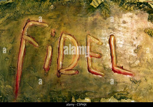 3D Kunst von Andres Gonzalez, basierend auf dem Namen Fidel von Eduardo Garcia Delgado mit seinem eigenen Blut kurz Stockbild