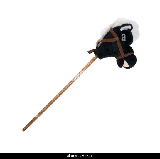 Plüsch Steckenpferd mit einem Holzstab für einen Körper darzustellen Kindheit - Pfad enthalten Stockbild