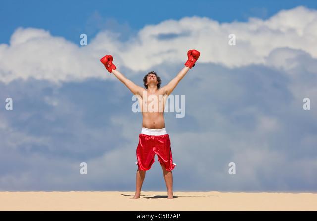 Ein Boxer am Anfang der Welt zu feiern. Stockbild