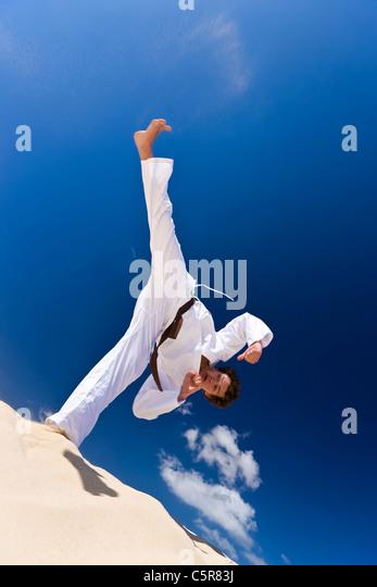 Martial Artist hoher Stoß. Stockbild