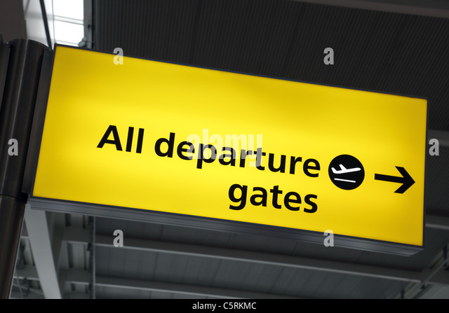 Flughafen Abflug gates Zeichen Stockbild