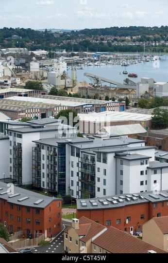Southampton Stadtzentrum, England - Blick von der Dachterrasse Stockbild