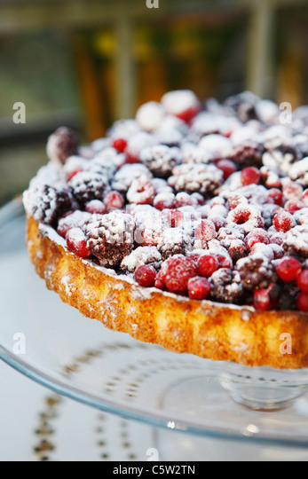 Obstkuchen mit Beeren, Nahaufnahme Stockbild