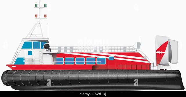 Illustration des Hovercraft vor weißem Hintergrund, Nahaufnahme Stockbild