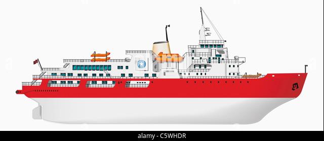 Abbildung des Schiffes vor weißem Hintergrund, Nahaufnahme Stockbild