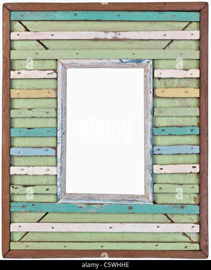 Bilderrahmen aus Holz-Lamellen, Nahaufnahme Stockbild