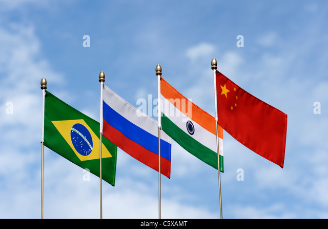 BRIC's Brasilien Russland Indien China Fahnen Stockbild