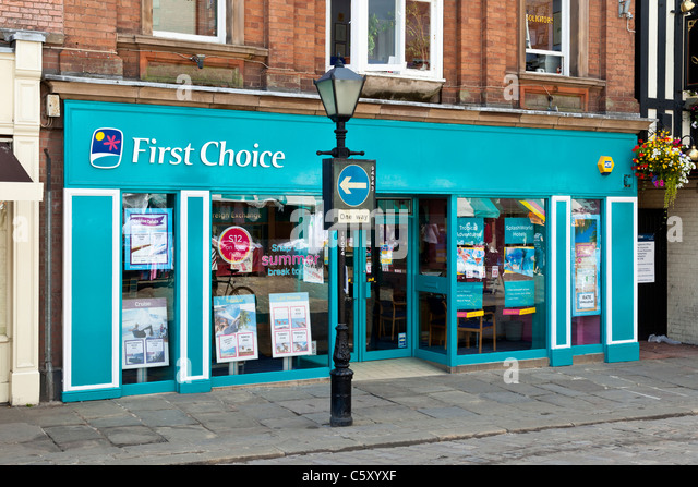 """Erste Wahl"" Reisebüro, Chesterfield, Derbyshire Stockbild"