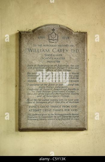 Eine Steintafel, William Carey, englischer protestantischer Missionar eingeschrieben; in der Kirche von St. James, Stockbild