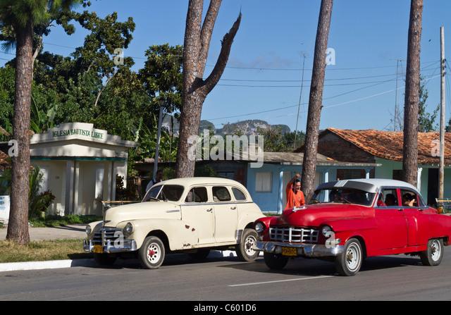 Oldtimer in Viñales, Kuba, Provinz Pinar Del Rio, Stockbild