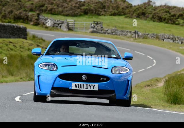 2011 Jaguar XK-RS in Französisch Blau Stockbild