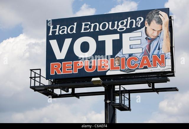 Ein Plakat der Republikanischen Partei. Stockbild