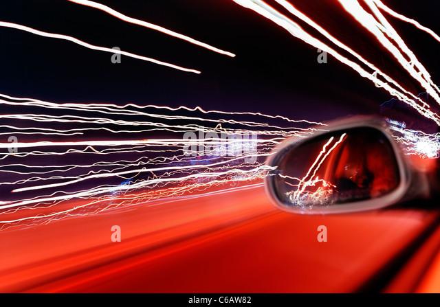Straßenverkehr, unscharfen Lichter, leichte Spuren, Licht Kunst, dynamisch, bunt, Abend, Hamburg, Deutschland, Stockbild