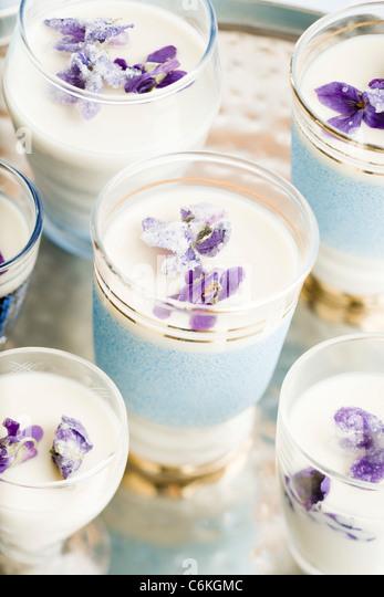 Violette pannacotta Stockbild