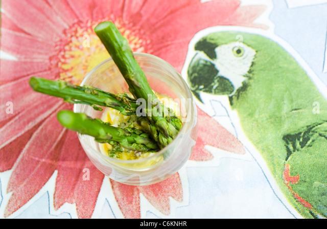 Gegrillter Spargel mit Sauce gribiche Stockbild