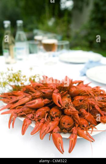 Gekochte Krebse auf Outdoor-Tisch Stockbild