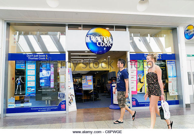 Thomas Cook Reisebüro bei Cribbs Causeway Shopping-Mall, Bristol, England, UK. Stockbild