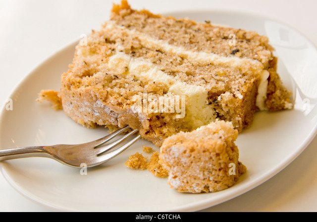 Walnuss Kuchen auf Teller Stockbild