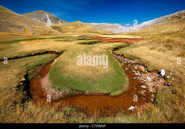 Verliga, die Quellen des Acheloos (auch bekannt als 'Aspropotamos') Region, Pindos-Gebirge, Trikala, Thessalien, - Stock-Bilder