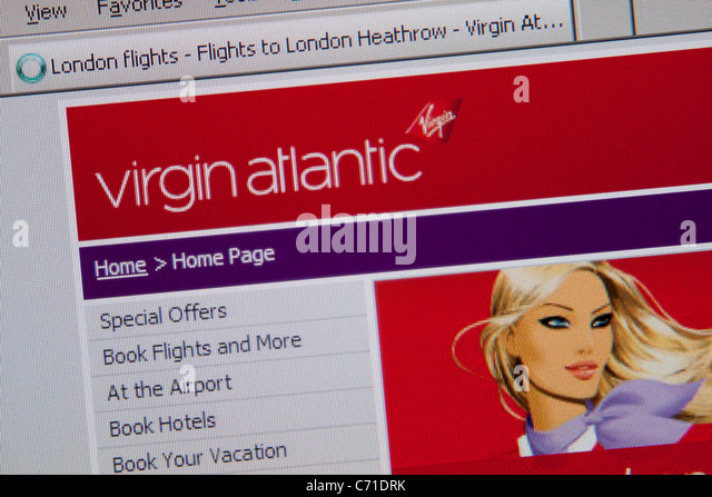 virgin atlantic Online-Flug-reisen Stockbild