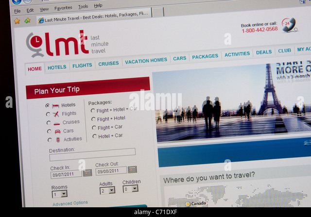 Last-Minute-Online-Reise-Buchung-website Stockbild