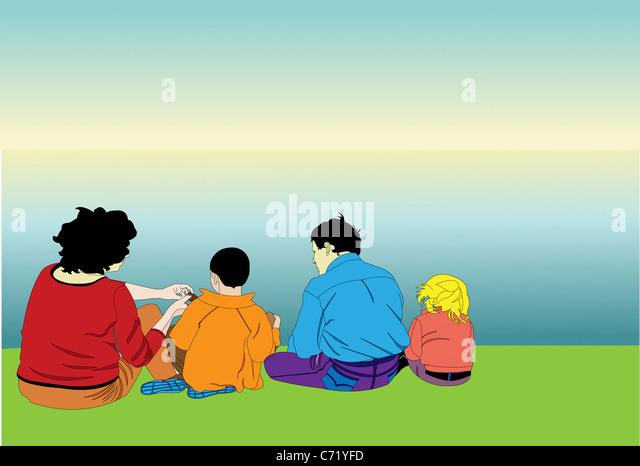 Familie mit einem Picknick Stockbild
