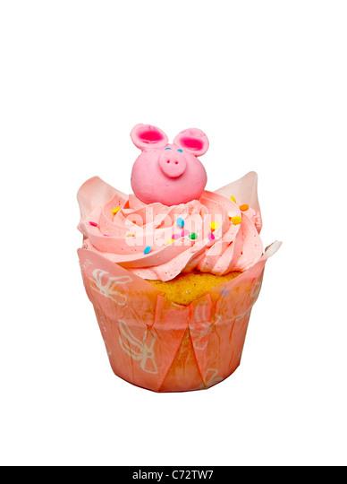 Rosa Cupcake isoliert auf einem weißen Hintergrund Cupcake, rosa, Süßwaren, süße, Vereisung, Stockbild