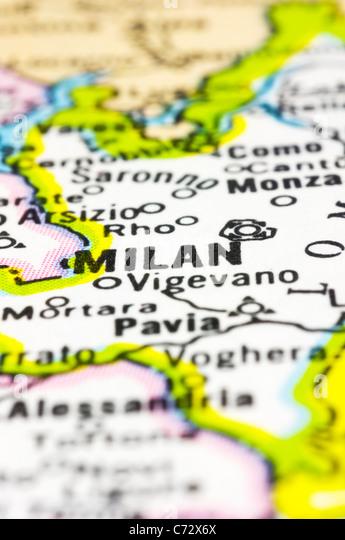 Nahaufnahme von Mailand auf Karte, Stadt Italiens. Stockbild
