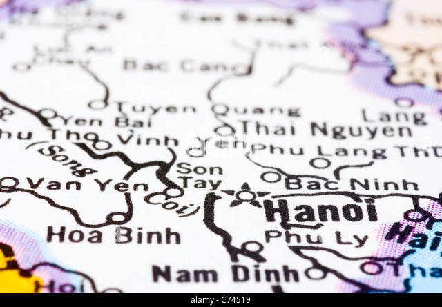 eine Nahaufnahme von Hanoi auf Karte, Hauptstadt von Vietnam. Stockbild