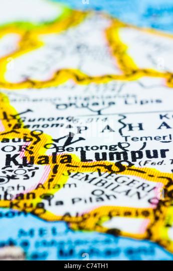 eine Nahaufnahme von Kuala Lumpur auf Karte, Hauptstadt von Malaysia Stockbild