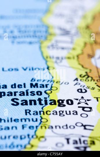 eine Nahaufnahme von Santiago auf Karte, Hauptstadt von Chile. Stockbild