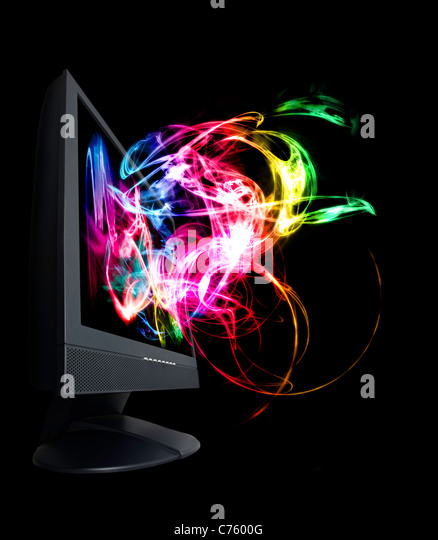 Der Monitor ist voll von bunten und magischen Wellen. Stockbild