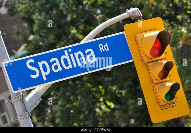 Spadina Straßenschild Street, Toronto, Kanada Stockbild