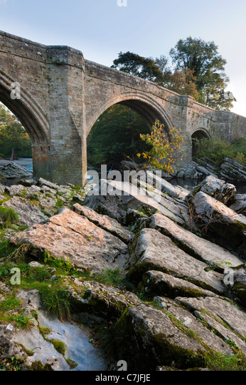 Teufelsbrücke bei Sonnenaufgang, Kirkby Lonsdale, Cumbria, England, UK Stockbild