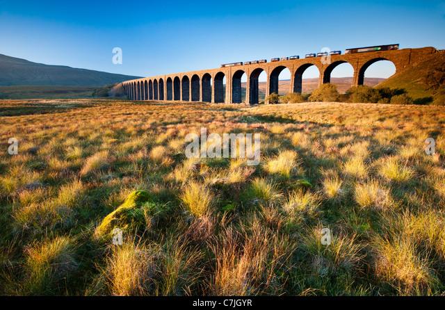 Fraight Zuges Ribblehead-Viadukt, Yorkshire Dales, England, UK Stockbild