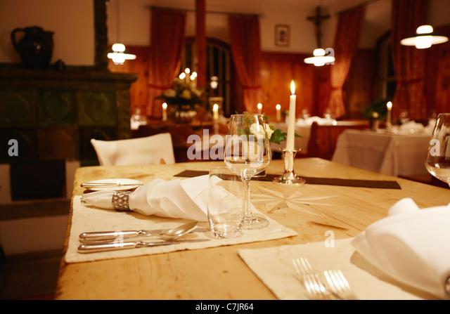 Nahaufnahme von reich verzierten Tischdekoration Stockbild