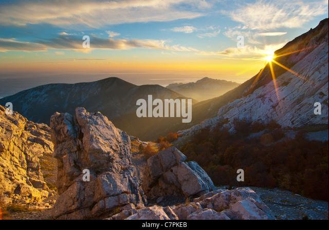 Der schönste Berg in Kroatien, Berg Velebit im Herbst. Stockbild