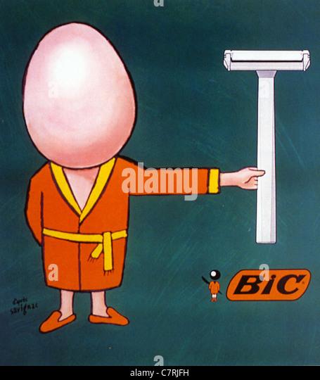 BIC 1978 Rasierer Werbung entworfen von Raymond Savignac Stockbild