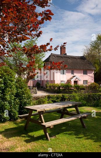 Reetdachhaus in malerischen Winsford, Exmoor - Stock-Bilder