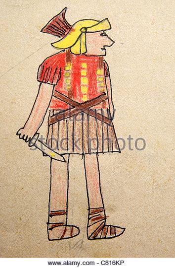 Kinder, die Zeichnung von einem Roman Legionnaire Stockbild