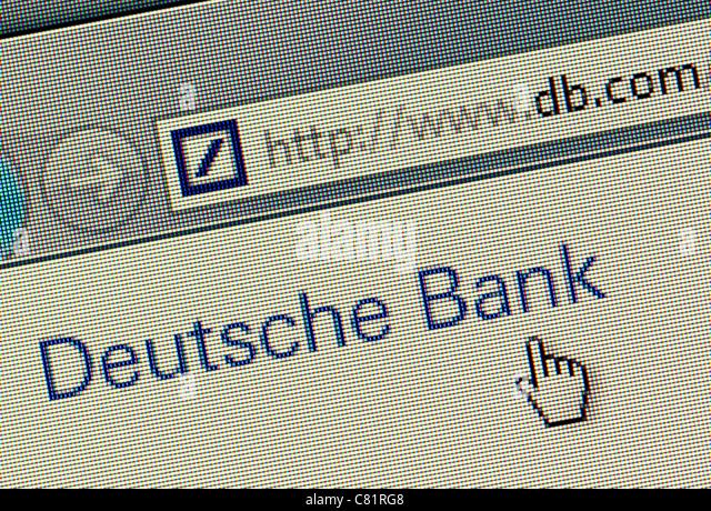 Deutsche Bank-Logo und Website hautnah Stockbild