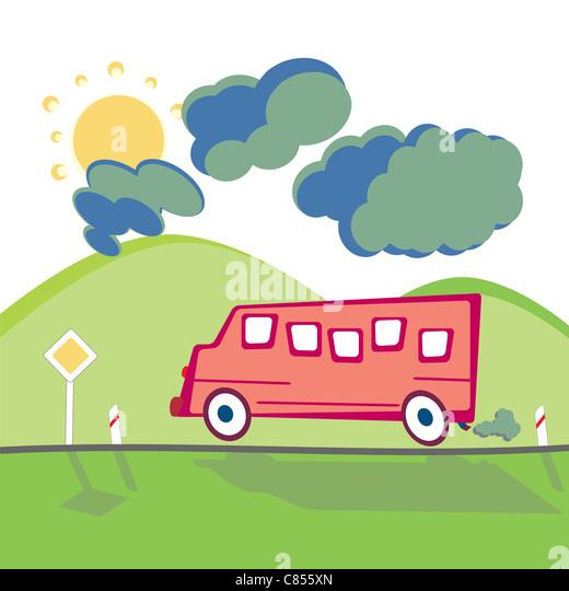 Bus auf der Bergstrasse in Zeichentrickfilm kindlichen Stil ausgeführt Stockbild