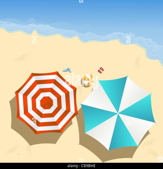Paar der Sonnenschirme am Strand, Grafik Stockbild