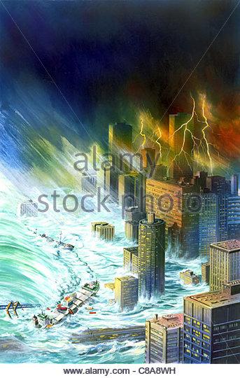 Katastrophe-Wolkenkratzer Stockbild