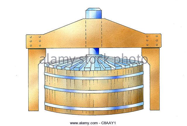 Weinbau weiß Wein Korb Presse Stockbild