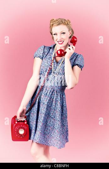 Klatsch auf einem Vintage Telefon Stockbild