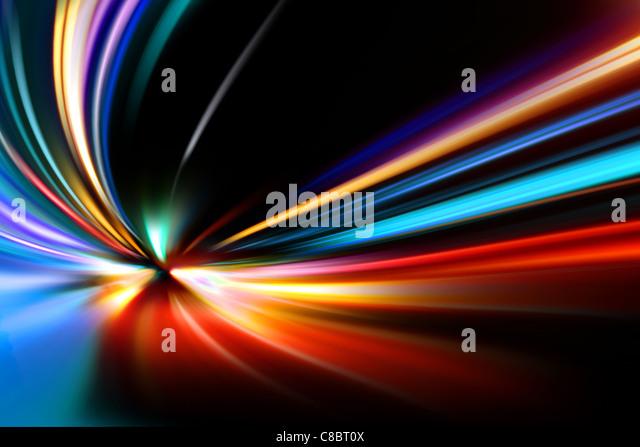 abstrakte Nacht Beschleunigung Geschwindigkeit Bewegung unterwegs Stockbild